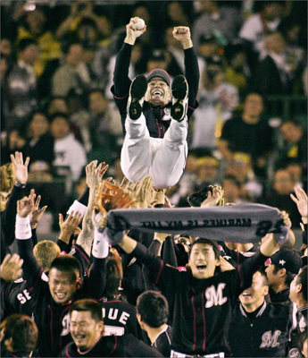 Once again, Valentine headed for Japan. In 2004, he returned as manager of the Chiba Lotte Marines. In 2005, the team won its first Japan Series championship in a four-game sweep. Valentine was tossed into the air after a 3-2 victory over the Hanshin Tigers in Game Four in the Japan Series at Koshien Stadium in Nishinomiya, Hyogo Prefecture. He spent six years as the team's popular manager, and when his tenure was coming to an end in 2009, more than 110,000 fans signed a petition to keep him from being let go. Their efforts failed. Ownership said it couldn't afford him.