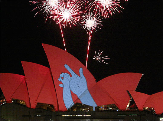 The Sydney Opera House was one of more than 50 landmarks and iconic monuments around the world that have turned red in support of World AIDS Day.