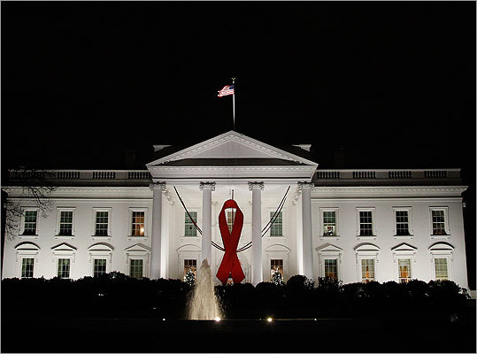 A red ribbon was displayed on the North Portico of the White House on Nov. 30.