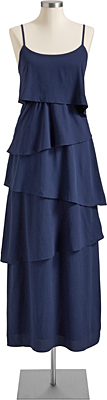 This elegant silky maxi can be taken to new heights with layered baubles. Ruffle-tiered chiffon maxi dress in Russian navy, OldNavy.com and in store, $44.94.