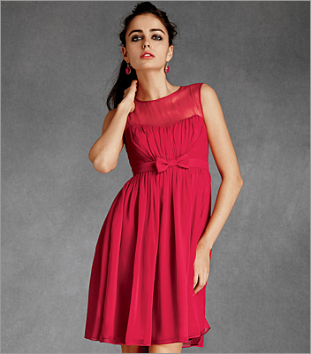 A high neckline and simple styling leaves the perfect opportunity to highlight sparkling statement earrings. Savoy dress by Essere in raspberry, BHLDN.com , $220.