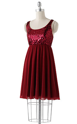 A cheery cranberry in a sea of red. Embellished babydoll dress by Apt. 9 in ship red, Kohls.com and in stores, $64.