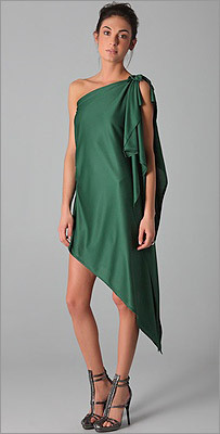 Thayer silk toga dress in green