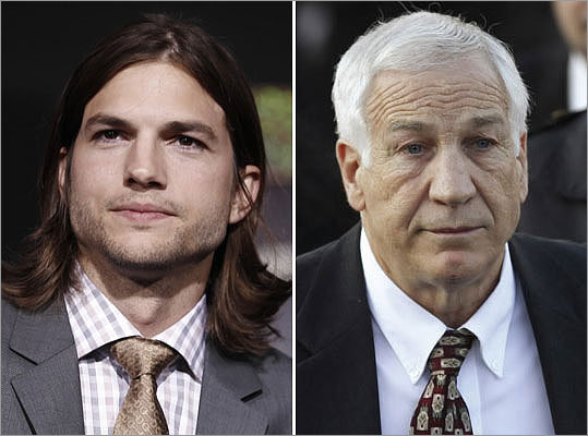 @aplusk Ashton Kutcher 'How do you fire Jo Pa? #insult #noclass as a hawkeye fan I find it in poor taste' Nov. 9 The actor's followers blamed him for defending the former Penn State assistant football coach Jerry Sandusky (right), who was charged in November with 40 counts of sexually abusing eight boys. Turns out Kutcher wasn't aware of the reasons.