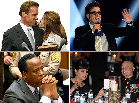 Arnold Schwarzenegger, Maria Shriver, Charlie Sheen, Conrad Murray, Mila Kunis, Sgt. Scott Moore