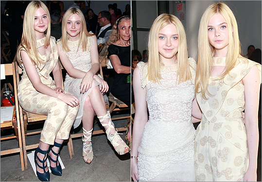 Dakota and Elle Fanning at Rodarte during NYFW