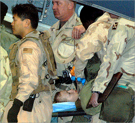 US Army Private First Class Jessica Lynch was carried on a stretcher off a C-17 military plane at the US air base in Ramstein, Germany, on April 3, 2003. Lynch was rescued by US Special Forces more than a week after she and other members of her unit were captured in Iraq. Lynch had been captured along with five others after the 507th Maintenance Company took a wrong turn and came under attack in Nasiriyah on March 23, 2003. Eleven of her fellow soldiers died.