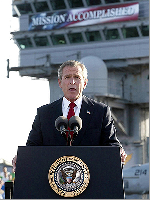 On May 1, 2003, President George W. Bush stood on the deck of the nuclear aircraft carrier USS Abraham Lincoln in front of a 'Mission Accomplished' banner, and announced the end of major combat in Iraq. The war in Iraq continued for another 8½ years.