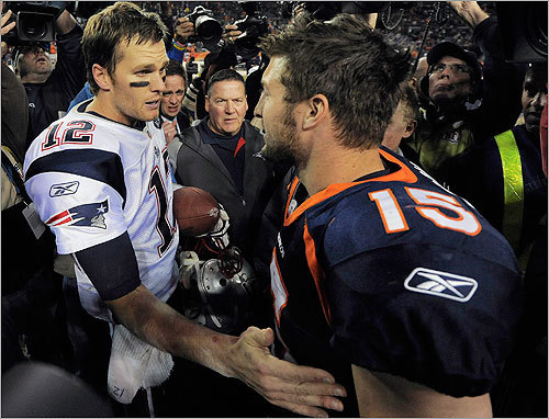 Brady and Tebow met at midfield after the Patriots' win, which clinched New England's ninth AFC East title of the Bill Belichick era.
