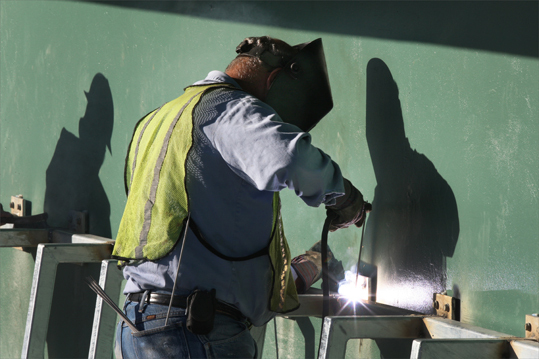 Welders attached benches in the Red Sox dugout which will be on the third base side.