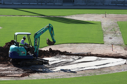 Digging continued in the infield at third base. This view was from the Green Monster.