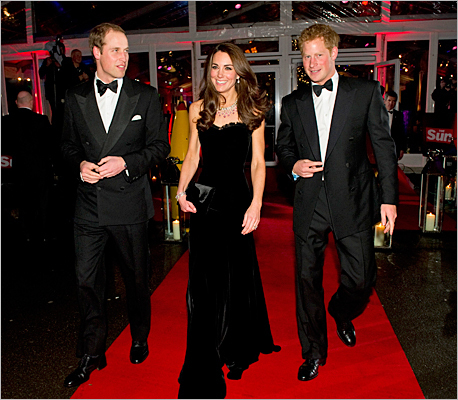 The royal couple and brother, Prince Harry, went black tie proper at the 'A Night of Heroes' event in central London on Dec. 19, 2011.