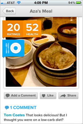 The Eatery This new app helps you photo-document everything you eat, rate it on a scale from 'fit' to 'fat,' and share with your friends for feedback. Price: Free.