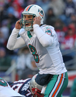 Matt Moore (8) of the Miami Dolphins called a play during the game. More came into today ranked 26th among NFL quarterbacks with 2,081 passing yards.