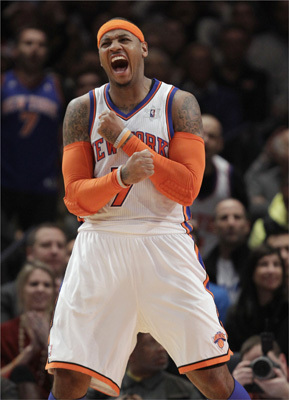 New York Knicks forward Carmelo Anthony (7) celebrated during the second half of the Knicks' 106-104 victory.