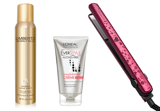 Remington flat iron, Umberto shine spray, L'Oreal Everstyle Smooth and Shine Creme