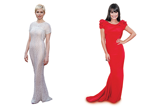 HIT Spotted on the red carpet Red was the dominant color at both the Oscars and the Emmys. Celebrities such as Lea Michele (at right) and Kate Winslet showed how blazing scarlet can be the perfect accessory for flashing camera and Ryan Seacrest. Actresses Michelle Williams (at left), Reese Witherspoon, and Halle Berry defied the trend with grace. Williams's demure Chanel gown demonstrated how an award show gown can be both understated and sensational. And after years of disasters, ''Mad Men'' star Christina Hendricks finally found the perfect red carpet look.