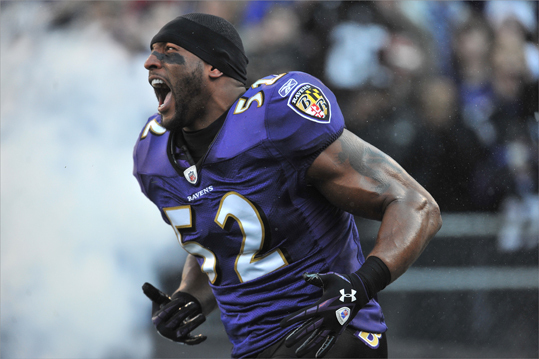 The Baltimore Ravens were 12-4 during the regular season. They ranked 12th in points per game with 23.6, but are known as a defensive threat. Inside linebacker Ray Lewis had 95 tackles on the season. They ranked third among defenses allowing an average of 288.9 yards per game and second in fewest rushing yards per game allowed with 92.6. The Ravens will play either Houston, Denver, or Pittsburgh in the Divisional Playoffs.