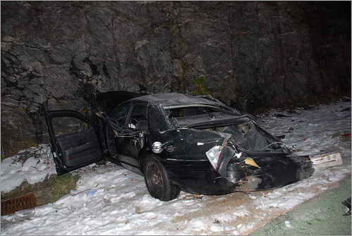 Murray's foot fell harder on the car's accelerator, increasing his speed to 108 miles per hour as he slid off the roadway and into a rock ledge, flipping twice, according to black box data.