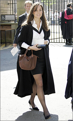With leg-baring skirt under her graduation robes, Middleton, then-girlfriend of Prince William. She allegedly caught the eye of her future husband by appearing in a risque dress for a fashion show during their time at university.