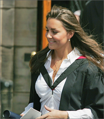 Middleton left Younger Hall after her graduation ceremony in St. Andrews, Scotland, in June 2005.