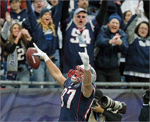 Patrots tight end Rob Gronkowski brought the crowd out of their seats as he celebrated his third touchdown against the Indianapolis Colts on Dec. 4.