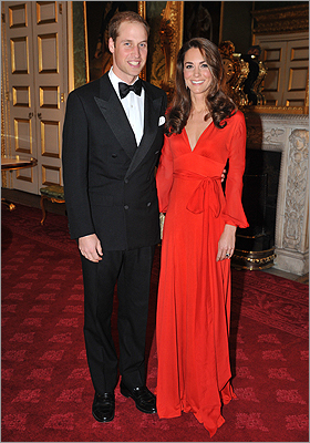Middleton in a red wrap dress