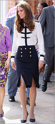 The duchess in a military-inspired look at the Summerfield Community Centre in mid-August 2011 in Birmingham, England.