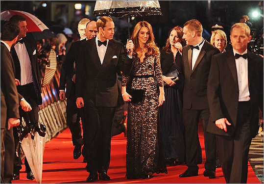 The duchess wore a full-length lace gown by Alice Temperley to the UK premiere of 'War Horse' with her husband, Prince William, on Jan 8.