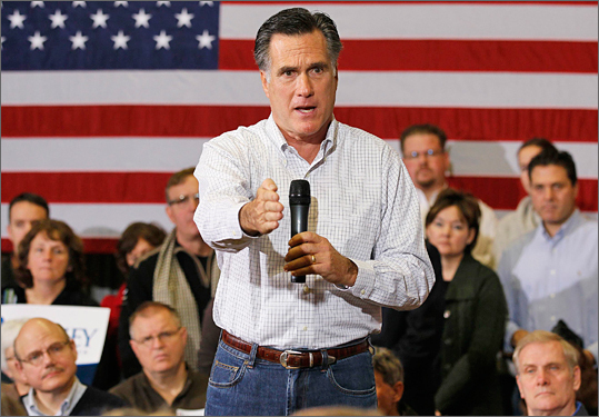 Mitt Romney wore look as authentically American as the flag behind him while speaking to supporters in Council Bluffs, Iowa on Jan. 1.