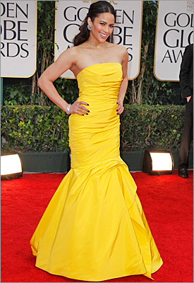 The golden touch A sunny outlook on the red carpet with rich yellow gowns-a-plenty. (We should also note that the very stylish Emily Blunt also snuck in a mustard-hued Elie Saab gown to introduce a 'Bridesmaids' clip.) Pictured: Actress Paula Patton in a canary yellow Monique Lhuillier .