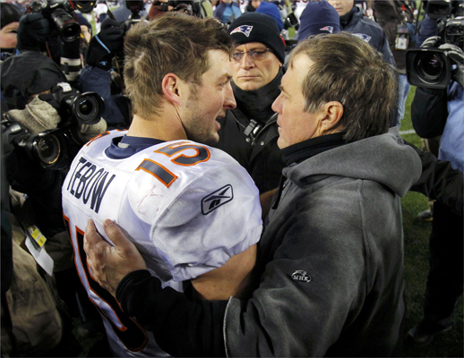 """Jan. 14, 2012: Patriots 45, Broncos 10 The hype leading up to the divisional playoff game surrounded Broncos quarterback Tim Tebow, but the Patriots dominated from the beginning. Tom Brady had a record-setting five touchdown passes by halftime, and six overall. Tight end Rob Gronkowski had three touchdown catches. Denver's offense couldn't get any traction. """"It was a good, solid team effort. It's been a lot of hard work this year. The players deserve this; they put up with me,'' Belichick said."""