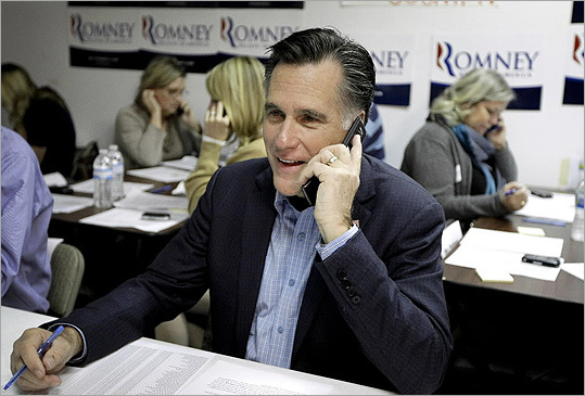 Mitt Romney called eligible voters from his campaign headquarters in Charleston, S.C., on Jan. 19.