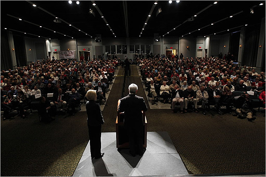 Newt Gingrich, accompanied by his wife, Callista, spoke in Bluffton, S.C., on Jan. 19