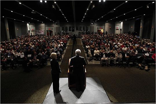 Newt Gingrich, accompanied by his wife, Callista, spoke in Bluffton, S.C., on Jan. 19