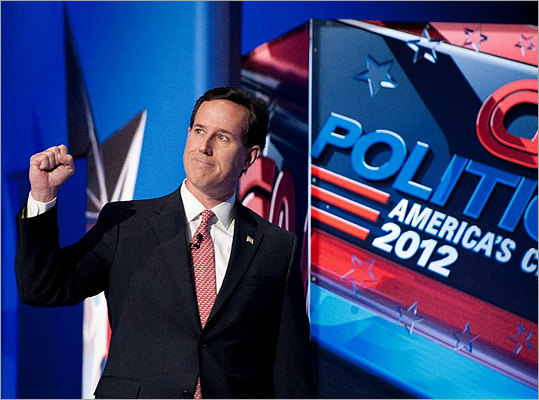 Rick Santorum took the stage in South Carolina. During the debate, the former senator accused Gingrich and Romney of 'playing footsies with the left' when it came to health care, which both denied.