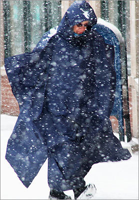 May Sherman, of the West End, braved the snow as she made her way down Charles Street in Beacon Hill. Sherman was on her way to a knitting class at Trinity Church in Copley Square.