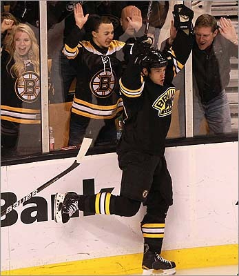 Boston Bruins defenseman Andrew Ference is shown celebrating his goal that tied the game at 1-1 in the first period against the New York Rangers Jan. 21.