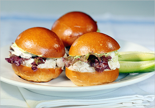 Chicken salad sliders with avocado cream