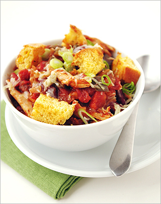 Chicken chili with corn bread croutons