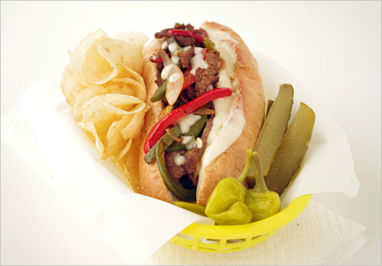 Provolone, pepperoncini, and thinly sliced steak make this sandwich recipe a classic keeper. Recipe: Steak and cheese subs.