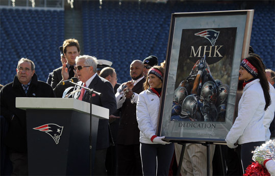 Gil Santos, Tom Brady and Robert Kraft were at the rally.