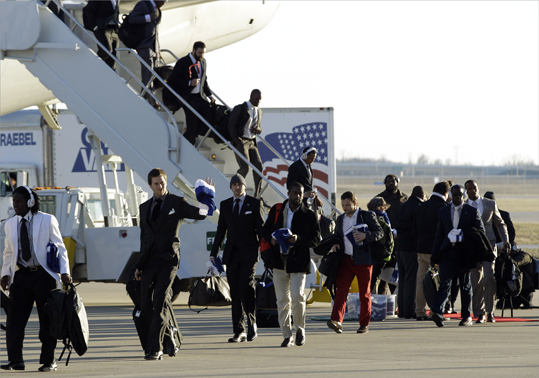 The team arrived at the Indianapolis International Airport for NFL footbal's Super Bowl XLVI.