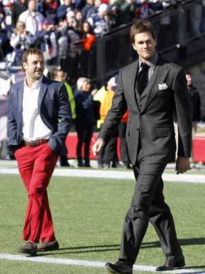New England Patriots wide receiver Wes Welker (left) and quarterback Tom Brady took to the field during a Super Bowl send-off event for the New England Patriots at Gilette Stadium in Foxborough on Jan. 29.