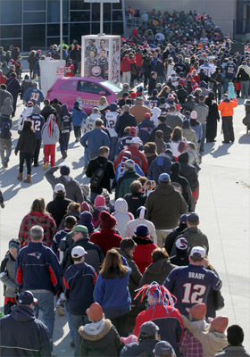 New England Patriot fans at Gillette Stadium for the Super Bowl sendoff rally for the team before they departed for the Super Bowl.