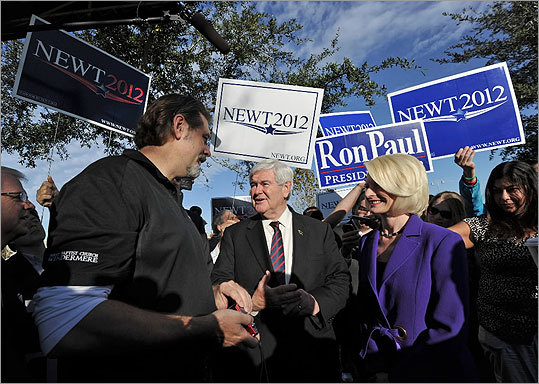 Newt Gingrich and his wife Callista visited a voting precinct at the First Baptist Church of Windermere in Orlando, Fla., on Jan. 31.