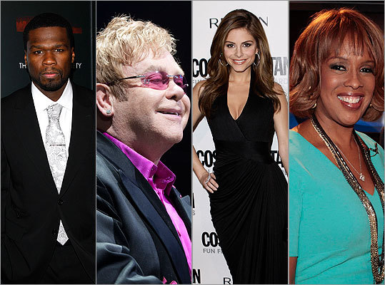 50 Cent, Elton John, Maria Menounos, Gayle King