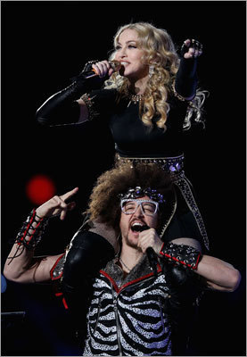 Redfoo of the group LMFAO also joined Madonna on stage.