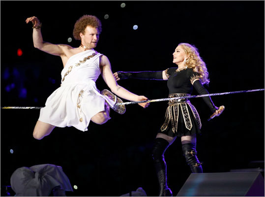 One of Madonna's numbers featured a tight-rope performer doing acrobatic moves.
