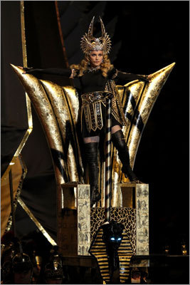 Singer Madonna performed a medley of her hits, as well as her new single 'Give Me All Your Love,' during the Bridgestone Super Bowl XLVI Halftime Show at Lucas Oil Stadium in Indianapolis on Feb. 5, 2012. Check out more scenes from the halftime show ...
